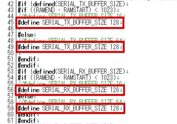 『 esp32からシリアル通信でarduinoへデータを送る 』 ..define SERIAL_RX_BUFFER_SIZE 128..