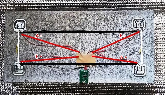 『 ロードセルで重さをはかる 』 ..ですから白、黒のリード線を結合することで実質2KΩの抵抗を介したフルブリッジ回路が形成されます。..