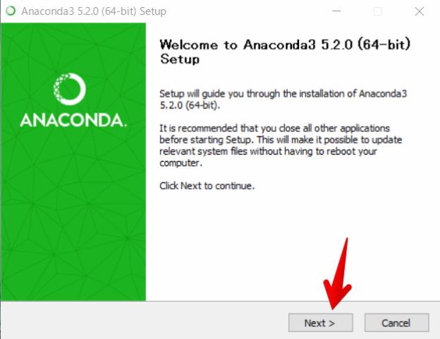 『 windowsでpython環境構築-anakonda 』 ..すると次のような「ようこそ (Welcome)」と書かれたウィンドウが現れますので、「Next 」ボタンをクリックして次の画面に進みます。..