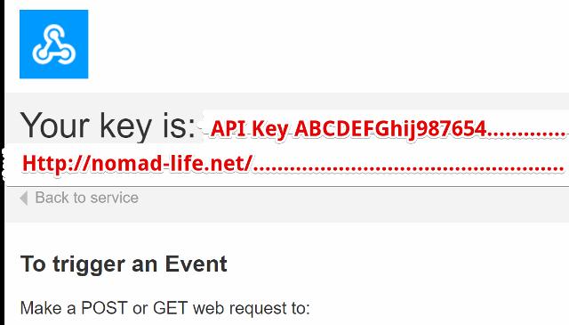 『 【完全図解】ifttt使い方とgoogle_sheetの連携 』 ..ここには作成されたアプリのAPIキーが記載されています。..